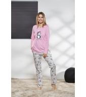 PJS Kadın Yuvarlak Yaka Pijama Takımı Pjs21167
