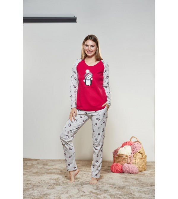 PJS Kadın Yuvarlak Yaka Pijama Takımı Pjs21169