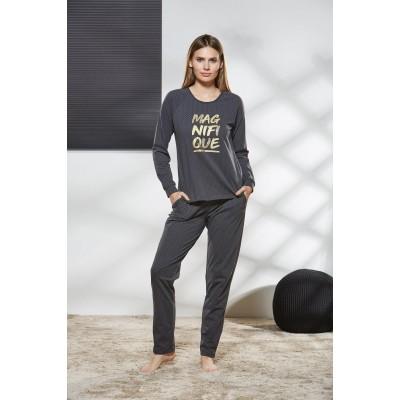PJS Kadın Yuvarlak Yaka Pijama Takımı Pjs21172