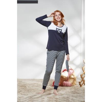 PJS Kadın Yuvarlak Yaka Pijama Takımı Pjs21174