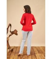 PJS 21802 Kadın Patlı Yuvarlak Yaka Pijama Takım