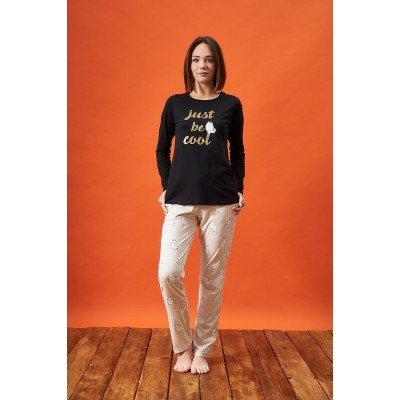 PJS 21811 Kadın Yuvarlak Yaka Baskılı Pijama Takım