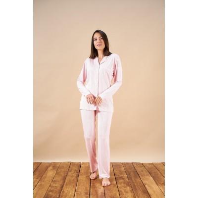 PJS 21815 Kadın Düğmeli Çizgili Yakalı Pijama Takım