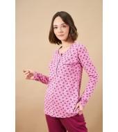 PJS 21840 Kadın Patlı Desenli Pijama Takım