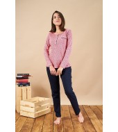 PJS 21873 Kadın Patlık Desenli Pamuklu Pijama Takım