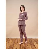 PJS 21834 Kadın Patlı Desenli Pijama Takım