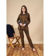 PJS 21881 Kadın Yuvarlak Yaka Leopar Desenli Pijama Takım