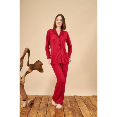 PJS 21814 Kadın Düğmeli Çizgili Yakalı Pijama Takım