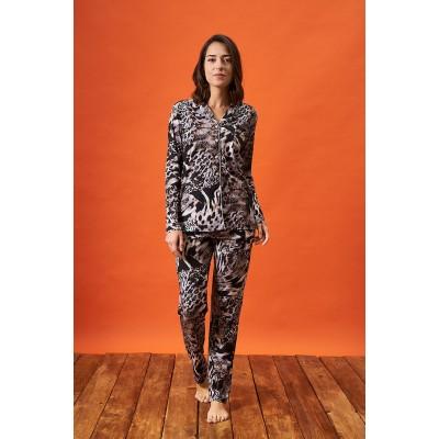 PJS 21841 Kadın Desenli Yakalı Düğmeli Pijama Takım