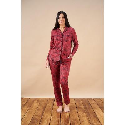 PJS 21826 Kadın Desenli Düğmeli Pijama Takım