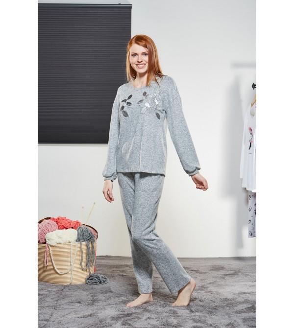 PJS Kadın Yuvarlak Yaka Pijama Takımı Pjs21177