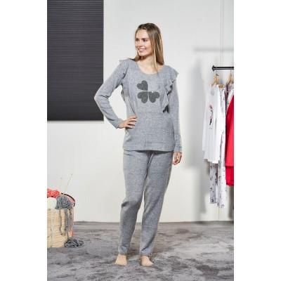 PJS Kadın Yuvarlak Yaka Pijama Takımı Pjs21178