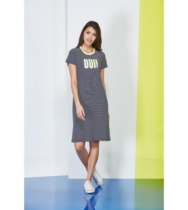 PJS Çizgili Baskılı Bayan Elbise 20601