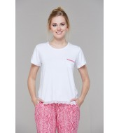 PJS Dantel Biyeli Empirme Desenli Bayan Pijama 2 Litakım 20665
