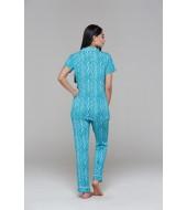 PJS Düğmeli Empirme Desenli Bayan Pijama 2 Li Takım 20663
