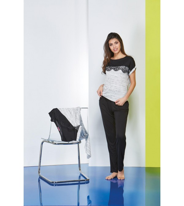 PJS Düşük Kol Robası Dantel Bayan Pantolonlu 2 Li Takım 20605