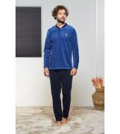 PJS Erkek Düğmeli Polar Pijama Takımı Pjs21330