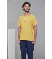 PJS 21605 Erkek Kısa Kollu Patlı Pijama Takım