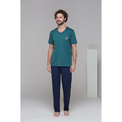 PJS 21626 Erkek Kısa Kollu V Yaka Pijama Takım
