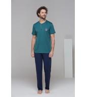 PJS 21627 Erkek Kısa Kolu Patlı Pijama Takım