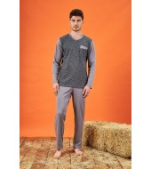 PJS 21704 Erkek Jakarlı V Yaka Pijama Takımı