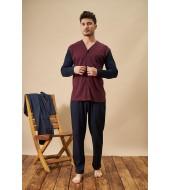 PJS 21708 Erkek Jakarlı Düğmeli Pijama Takım