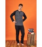 PJS 21700 Erkek Jakarlı Patlı Pijama Takımı