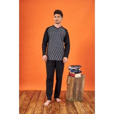 PJS 21701 Erkek Jakarlı V Yaka Pijama Takımı