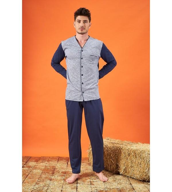 PJS 21725 Erkek Jakarlı Düğmeli Pijama Takımı