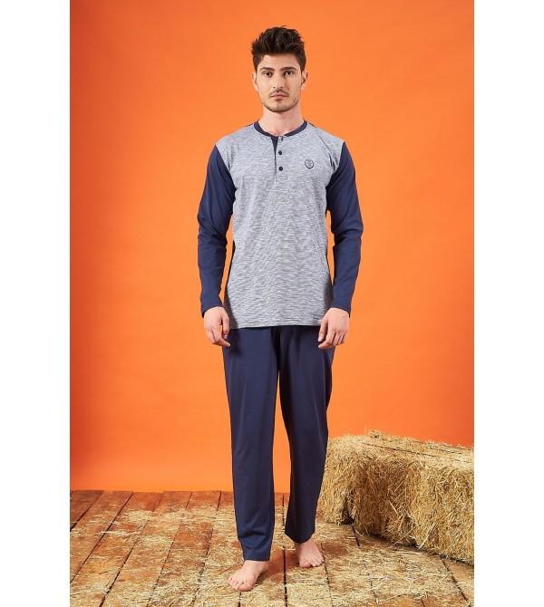 PJS 21724 Erkek Jakarlı Patlı Pijama Takımı