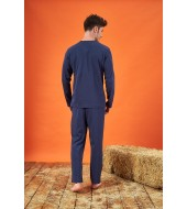 PJS 21713 Erkek Jakarlı Düğmeli Pijama Takımı
