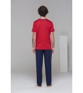 PJS 21625 Erkek Kısa Kollu Cepli Patlı Üçlü Pijama Takım