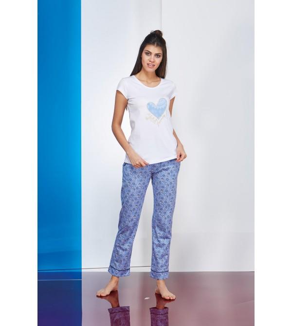 PJS Kalp Baskılı Empirme Desen Bayan Pijama 2 Litakım 20655
