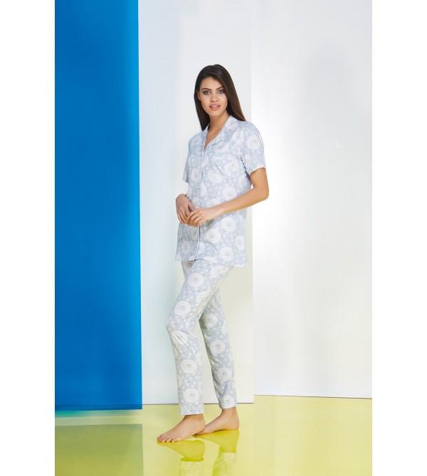 PJS Patlı Empirme Desen Bayan Pijama 2 Li Takım 20641