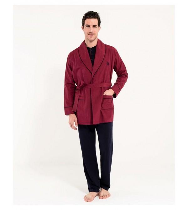 U.S. Polo Assn 12000 Erkek 1 Uzun 1 Kısa Pijama Takımı + Rob