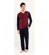 U.S. Polo Assn 12002 Erkek 2 Uzun Kol Pijama Takımı+Rob