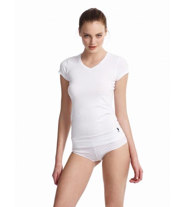 U.S. Polo Assn 66004 Bayan Kısa Kollu V-Yaka T-Shirt