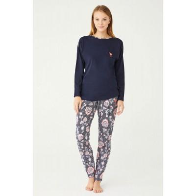 U.S. Polo Assn. Kadın Yuvarlak Yaka Pijama Takımı 16399