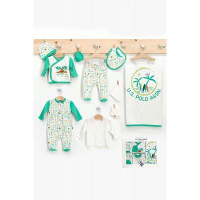 U.S. Polo Assn Lisanslı Palm Krem Nil Yeşili Erkek Bebek 10'Lu Hastane Çıkışı Seti