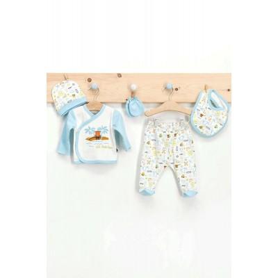 U.S. Polo Assn Lisanslı Palm Krem Uçuk Mavi Erkek Bebek 5'Li Takım