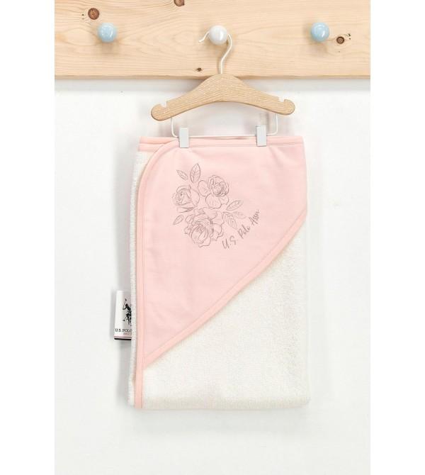 U.S. Polo Assn Lisanslı Roses Krem Toz Somon Kız Bebek Havlu