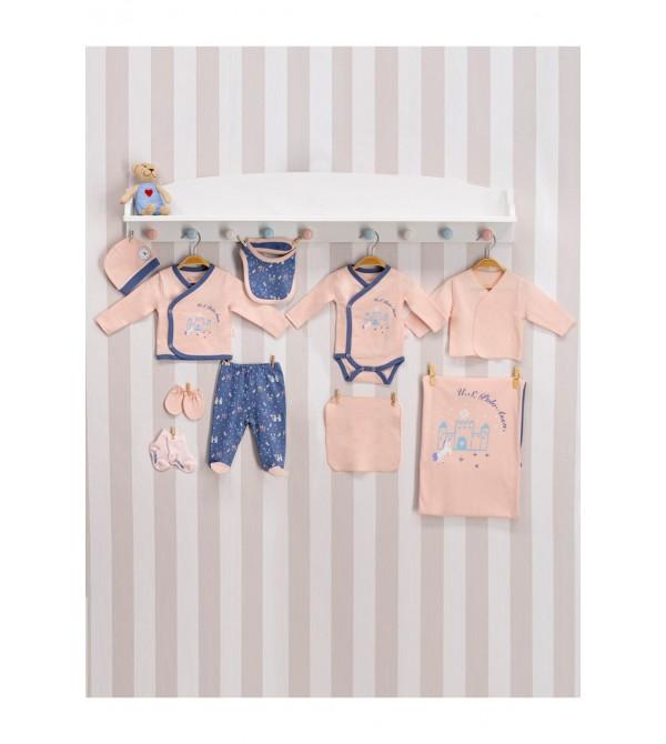 U.S. Polo Assn Lisanslı Somon Kız Bebek 10'Lu Hastane Çıkış Seti Usb020