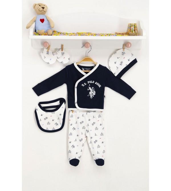 U.S. Polo Assn Lisanslı Bebek 5'Li Hastane Çıkış Seti USB143