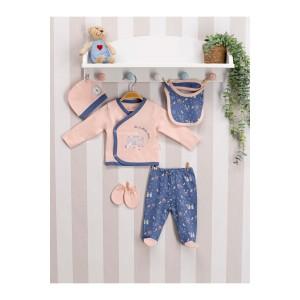U.S. Polo Assn Lisanslı Somon Kız Bebek 5'Li Hastane Çıkış Seti Usb019