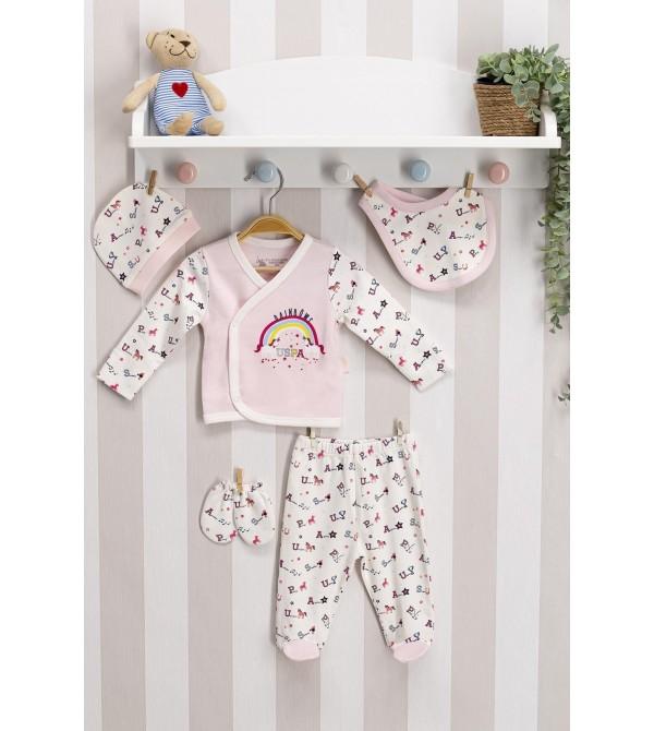 U.S. Polo Assn Lisanslı Somon Kız Bebek 5'Li Hastane Çıkış Seti Usb036