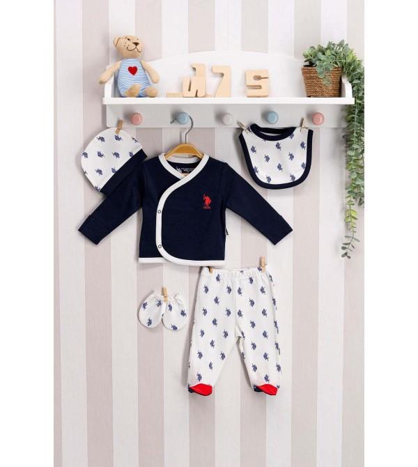 U.S. Polo Assn Lisanslı Lacivert Bebek 5'Li Hastane Çıkış Seti Usb126