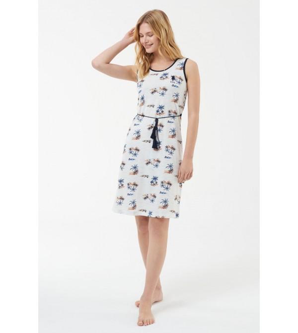 US Polo Assn 16537 Kadın Ekru Elbise