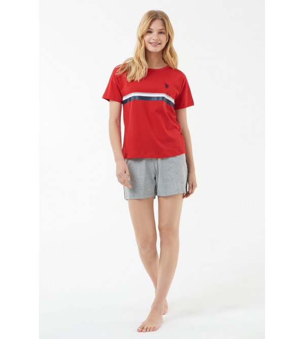 US Polo Assn 16514 Kadın T-Shirt Şort Takım