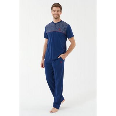 U.S. Polo Assn. 18442  Erkek 3 Lü Pijama Takım