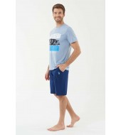U.S. Polo Assn. 18444 Mavi Melanj T-Shirt Şort Takım